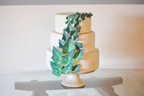 Edible Ivy Leaves Cake & Cupcake toppers - Wedding Cake Decorations