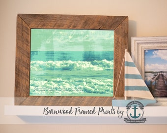 Peace and Calm Ocean Poem (Teal) - Reclaimed Barnwood Framed Print - Ready to Hang - Sizes at Dropdown