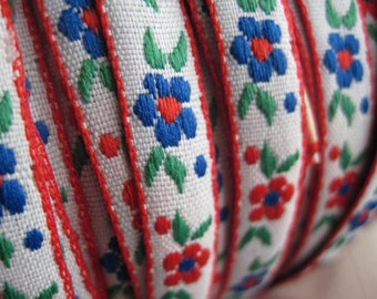 RED and BLUE flower and seed Ribbon