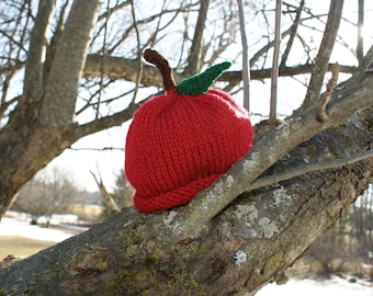 Knitted Apple Baby Hat