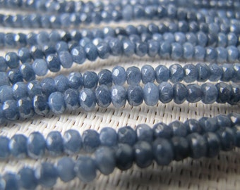 2.5x4mm Dyed Jade Navy Blue Faceted Rondelle Bead S181