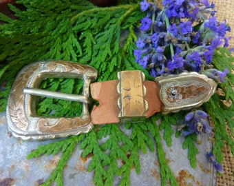 WESTERN COWBOY Vintage silver and gold belt buckle tip and loops