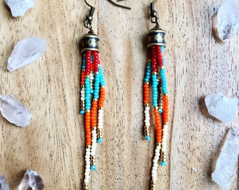 Long Seed Bead Earrings, Long Fringe Earrings, Seed Bead Earrings, Long Dangly Earrings, Tassel Seed Bead Earrings