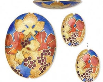 Set of 3 Cloisonne Puffed Oval with Grape & Leaf Design Focal Pendant Beads  49mm and 24mm
