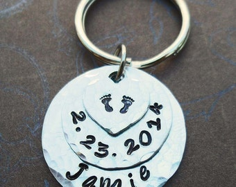 New Baby Name Date Keychain - Personalized Baby Name - New Mommy New Daddy New Baby - Hand-Stamped Custom Name -  K52