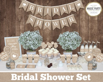Bridal shower decor etsy rustic bridal shower decorations bachelorette party decorations bridal shower decors burlap bridal shower natural bridal shower junglespirit Gallery