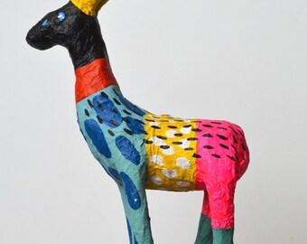 Eddie! Papier Mache Goat Sculpture Multicolour