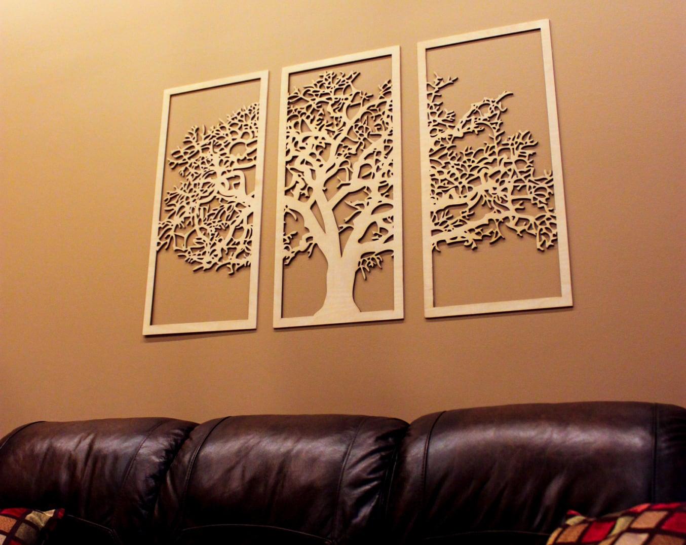 3 Panel Wall Art Classy Tree Of Life 3D 3 Panel Tree Wood Wall Art Beautiful Tree Design Ideas