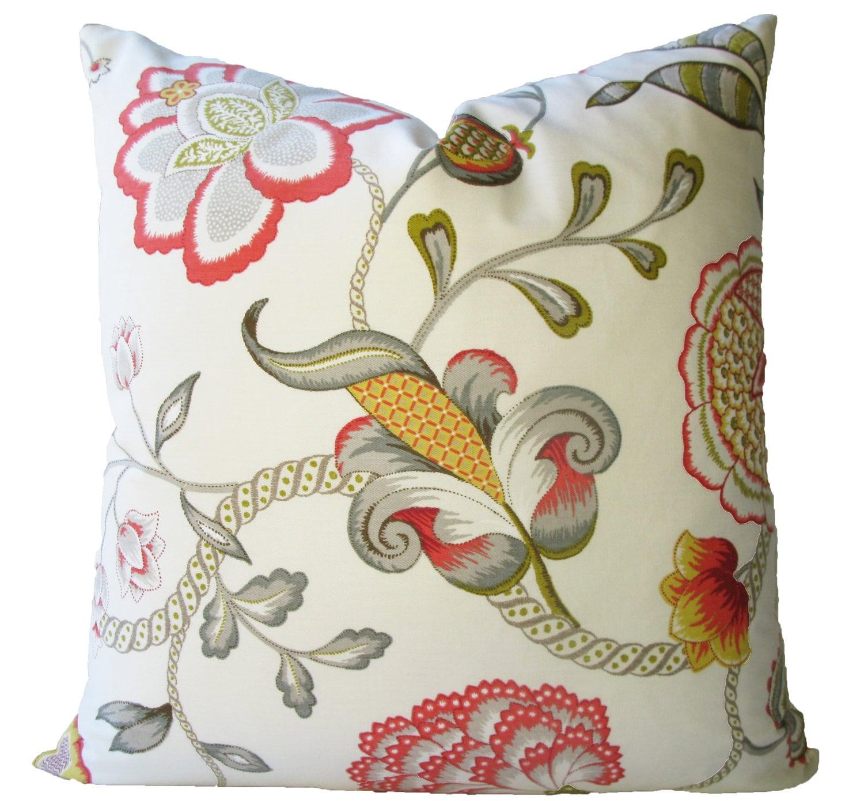 Decorative Designer Jacobean Floral Pillow Cover Coral
