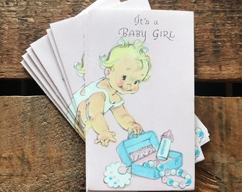 Vintage Baby Girl Birth Announcements - Set of 10 - Vintage Cards, Vintage Announcements, Vintage Baby Cards, Baby Girl Announcements