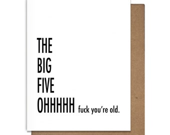 Funny Birthday Card 50, Letterpress