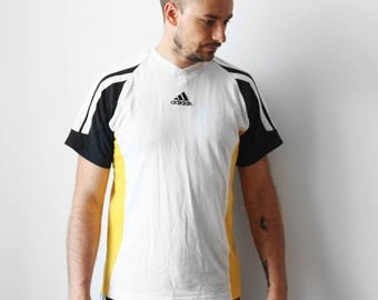 Vintage Adidas EQT t-shirt / Adidas Equipment sport tshirt shirt / Color blocking White Black Yellow Tee Shirt / 90s M L