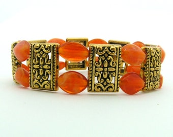 Orange and Gold Elasticated Bracelet