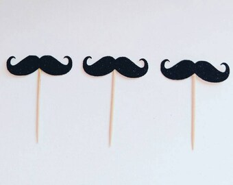 mustache bash, little man birthday, cupcake toppers