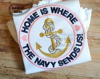 Home is where the NAVY sends us applique embroidery design
