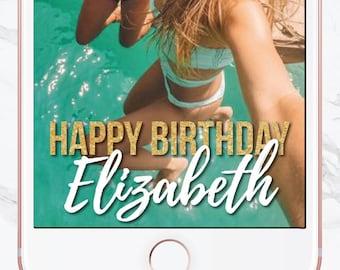Birthday Snapchat Filter, Birthday Filter, Geofilter, Dirty 30, Customized Birthday, Snapchat Geofilter, Sweet 16, Gold Writing, Glitter