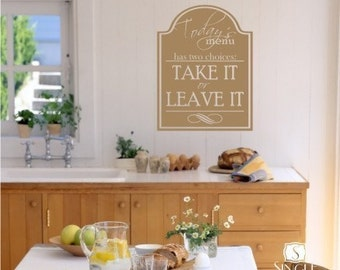 Wall Decals Kitchen Menu Sign - Vinyl Wall Stickers Art Graphics Words Lettering Custom Home Decor
