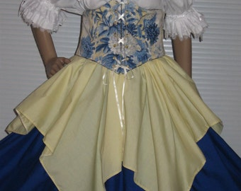 DDNJ Choose Fabrics 4pc Reversible Corset Style Cincher Chemise Skirts Plus Custom Made Any Size Renaissance Pirate Medieval Wench Gypsy
