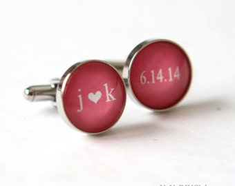 Coral  Wedding Gift for Groom Cufflinks, Unique Wedding gift for groom gift - Wedding Initials Cuff links custom color date