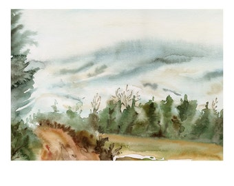 A Winter Walk Original Watercolor Painting
