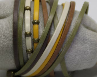 French design leather Cuff Bracelet