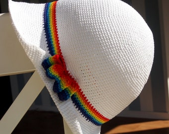 Summer cloche crochet hat / Rainbow / Cotton / Elegant / Lady-like