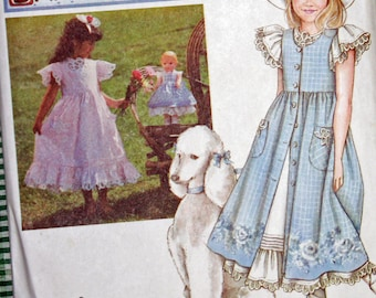 """UNCUT, Vintage, 1990s, Sewing Pattern, Simplicity 7010, Daisy Kingdom, Girls', Dress, Pinafore, Size 12-14, 17"""" Doll Clothes OLD2NEWMEMORIES"""