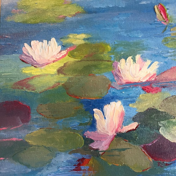 water lilies, water painting, landscape painting, water lily and pond