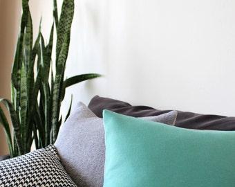 Turquoise pillow: throw pillow in luxury Italian wool, angora, cashgora mix, modern decorative pillow cover