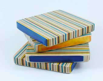 Drink Coasters made from recycled skateboards / Set of 4 Square Coasters
