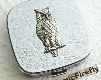 Silver Owl Pill Case Victorian Owl Pill Box Steampunk Metal Pill Case Gothic Victorian Steampunk Pill Case Real Glass Mirror In Lid NEW