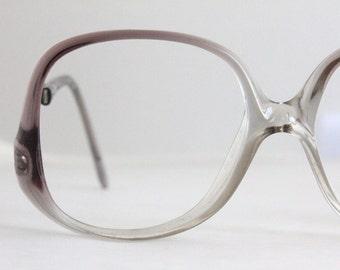 Vintage 70's Oversized Plum Fade Drop Arm Eyeglasses Frames