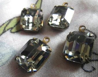 Swarovski Black Diamond 12x10mm Octagon Article 4600 Brass Ox Glass Drops 4 Pcs