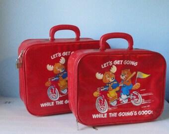 1983 The Get Along Gang Red Vinyl Suitecase set of 2.