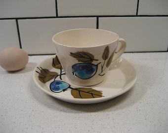 BOGO 40% OFF // Vintage Vera Neumann Cup & Saucer - Forbidden Fruit pattern - Island Worcester - Jamaica - Handpainted underglaze - Ladybug