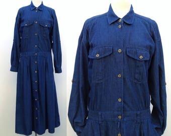 vintage denim dress womens long denim dress button down dress denim shirt dress 90s oversized long sleeve
