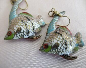 vintage enameled fish earrings - cloisonné, angel fish, pierced, dangle