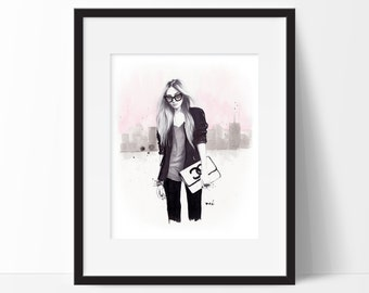 Back In Black - Original Fashion Illustration, Original Watercolor Painting, Wall Decor