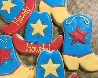 Cowboy Hat and Cowboy Boot Decorated Sugar Cookies