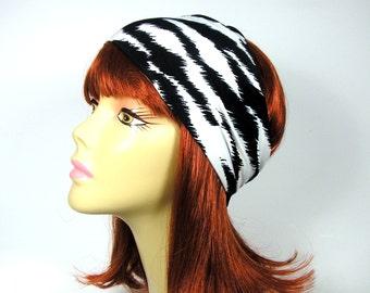 Black and White Yoga Head Wrap Animal Print Headband Animal Print Head Wrap Zebra Headband Workout Headband Lycra Headband Boho Head Wrap