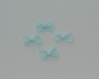 10 blue organza bow glossy clear 25x13x4mm - Ref: No. 440