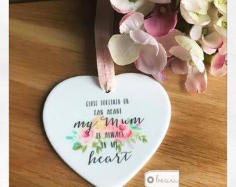 Close Together or Far Apart Quote Ceramic Heart - Keepsake