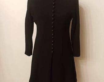 Black crepe dress/coat in years 1960