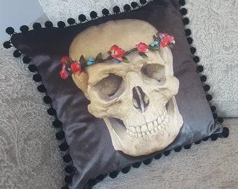 Pink Flower Skull Print Cushion/Cushion Cover on 100% Cotton Shimmer Velvet. 45cm x 45cm. Printed from original artwork.