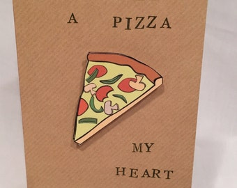 Funny Valentine's card, funny love card, card with pun, you stole a pizza my heart card, greetings card, food lover card, blank inside card