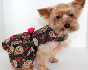 Sugar Skull Dog Dress, XS Day of the Dead, dia de los Muertos, READY TO Ship dogs dresses, Designer Fashion dog clothes