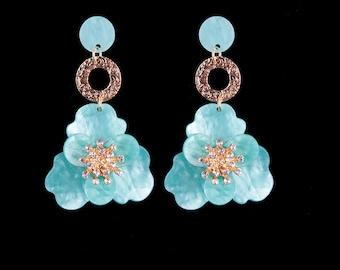 Flower Rhinestone Earrings - Blue
