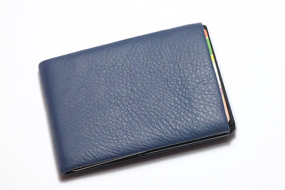 Best Minimalist Wallet, Leather Wallet, RFID Wallet - Original NERO Wallet - Blu Marino