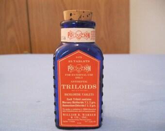 Poison Bottle Cobalt Blue, KT-9 Triloids, Embossing and Label, Never Used