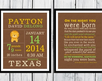 Birth Stats - Lion Birth Announcement Wall Art Set  8x10 or 11 x14 - Jungle Nursery Decor